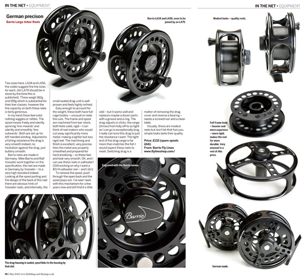Review of Barrio fly reels in Fly Fishing & Fly Tying Magazine