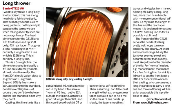 Review of the Barrio GT125 in Fly Fishing & Fly Tying Magazine