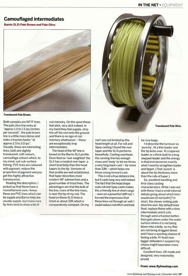 Review of the Barrio SLXi intermediate fly line in Fly Fishing & Fly Tying Magazine