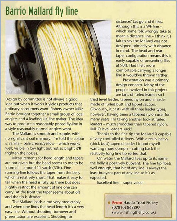 Review of the Barrio Mallard in Fly Fishing & Fly Tying Magazine