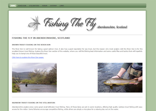 Homepage screenshot of Fishing the Fly