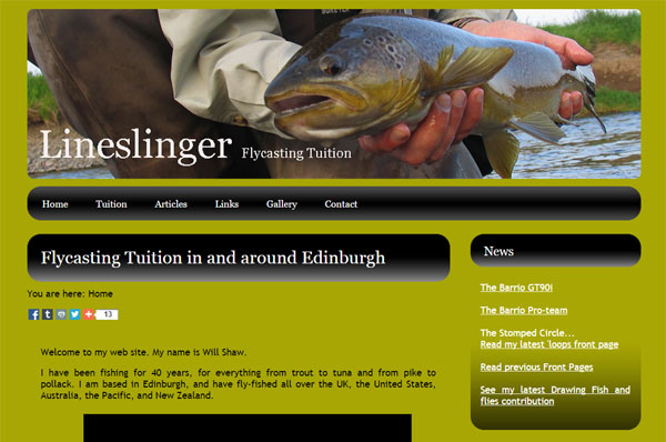 Homepage screenshot of Will Shaw's Lineslinger website