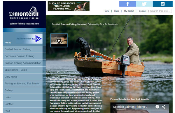 Homepage screenshot of the Monteith Salmon Fishing Services